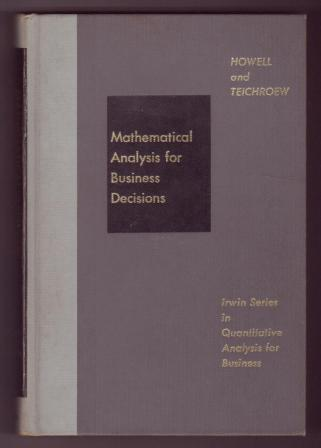 Image for Mathematical Analysis for Business Decisions