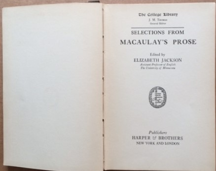 Image for Selections from Macaulay's Prose